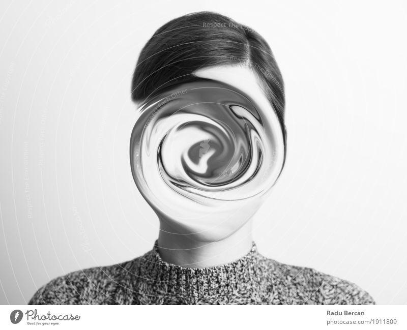 Abstraktes Frauenschwarzweiss-portrait des Verwirrungs-Konzeptes Mensch Jugendliche Junge Frau weiß 18-30 Jahre Gesicht Erwachsene Traurigkeit Gefühle feminin