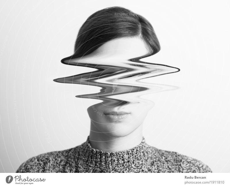 Abstraktes Frauenschwarzweiss-porträt des Unruhe-Konzeptes Mensch Jugendliche schön Junge Frau weiß Einsamkeit dunkel 18-30 Jahre Gesicht Erwachsene Traurigkeit