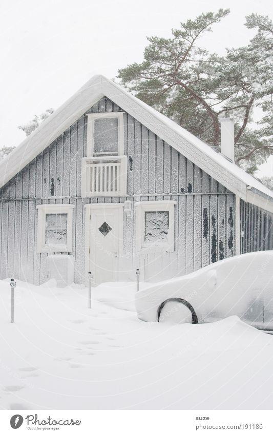 Schneedecke Ferien & Urlaub & Reisen Winterurlaub Häusliches Leben Haus Umwelt Natur Einfamilienhaus Hütte Fahrzeug PKW hell kalt weiß Schneesturm Ferienhaus
