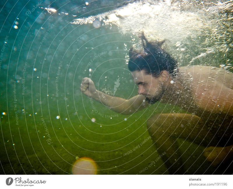 wassersport Spielen Sommer tauchen maskulin 1 Mensch Wasser Meer See Baggersee Schwimmen & Baden knien Geschwindigkeit Kraft Willensstärke Unterwasseraufnahme
