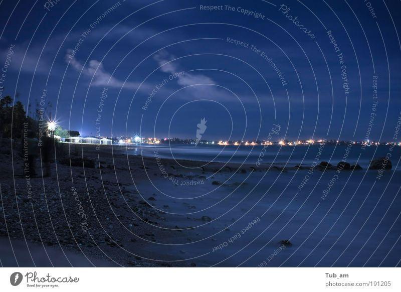 Silvesternacht am Mittelmeer Ferien & Urlaub & Reisen Freiheit Strand Meer Insel Wellen Gemälde Natur Wasser Wolken Nachthimmel Stern Horizont Sommer Winter