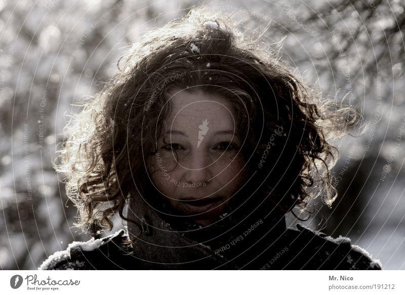 if today was your last day Winter Schnee feminin Kopf Haare & Frisuren Gesicht Natur Eis Frost Schneefall Locken Glück Fröhlichkeit atmen frieren Blick