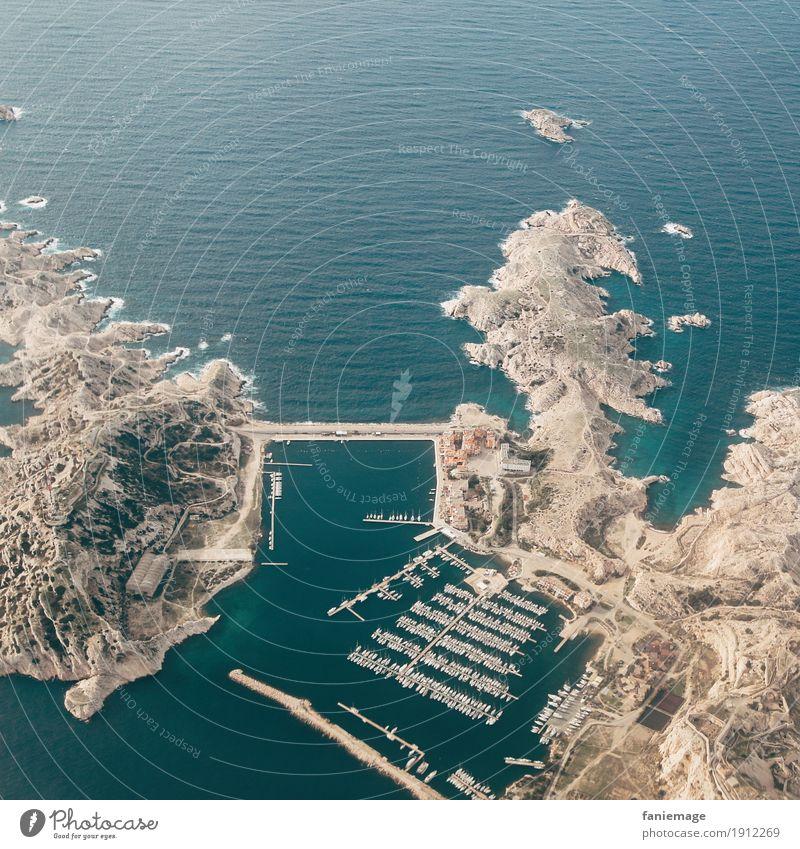 Îles du Frioul Umwelt Natur Landschaft Schönes Wetter Hügel Felsen Berge u. Gebirge Wellen Küste Bucht Meer hell Abenteuer Insel Marseille Mittelmeer Hafen