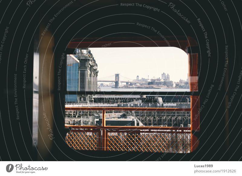 New York City - Brooklyn Bridge from Staten Island Ferry Ferien & Urlaub & Reisen Tourismus Ausflug Sightseeing Städtereise Manhattan Stadt Stadtzentrum Hafen