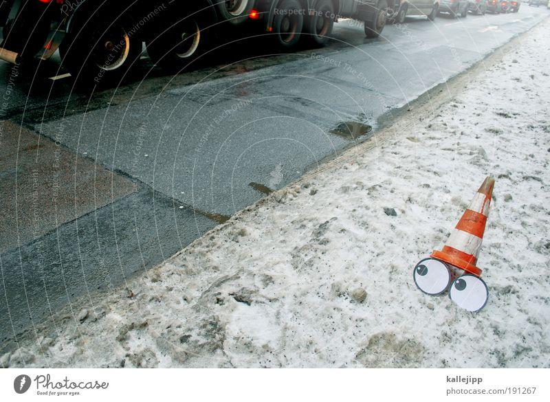 schutzengel Mensch Winter Auge Straße Schnee Umwelt Wege & Pfade PKW Eis Verkehr Unfall Frost Güterverkehr & Logistik Lastwagen Verkehrswege Fahrzeug
