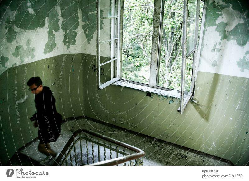 Schnell weg Mensch Mann Jugendliche ruhig Leben Wand Fenster Stil träumen Mauer Erwachsene Raum Zeit Treppe Häusliches Leben Innenarchitektur