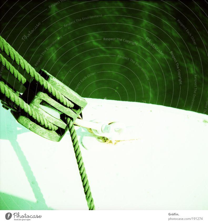 heiho! und ne Buddel voll Rum... weiß grün Sommer hell Wellen Seil Fluss Güterverkehr & Logistik Hafen Schönes Wetter Sehnsucht historisch Schifffahrt Segeln Mobilität hängen