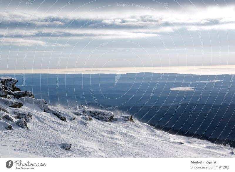 Wintertraum Natur blau Winter kalt Schnee Berge u. Gebirge Landschaft Eis Wind Wetter Umwelt Horizont Frost Klima Sturm Gipfel