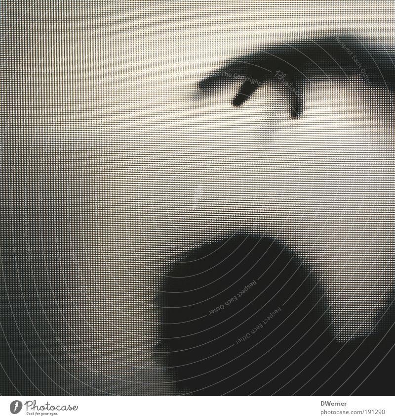 Silhouette II Lifestyle Fernseher Mensch maskulin Mann Erwachsene Kopf Hand 1 Kunst Theaterschauspiel Tür Hut Glas fangen schreien Aggression bedrohlich dunkel