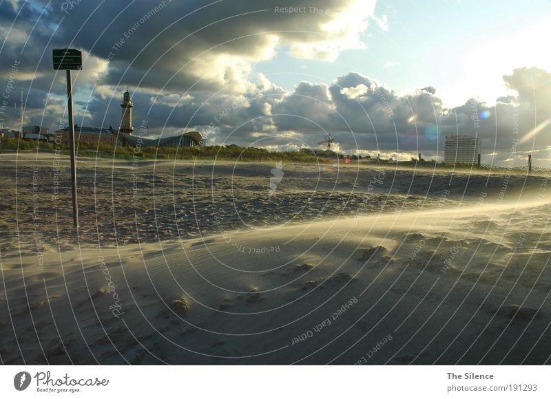 Wer Wind sät... Erholung Kur Ferien & Urlaub & Reisen Tourismus Freiheit Sonne Strand Meer Sand Luft Himmel Wolken Sonnenlicht Schönes Wetter Ostsee Warnemünde
