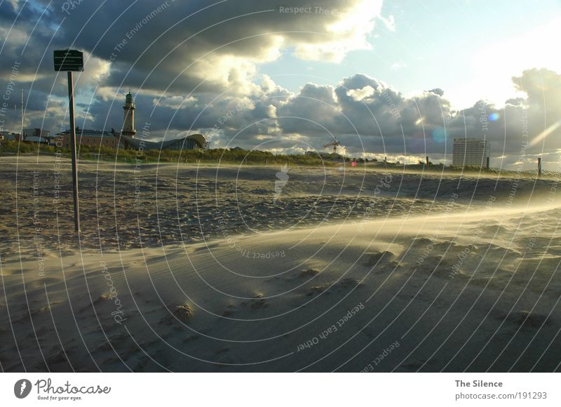 Wer Wind sät... Himmel Sonne Ferien & Urlaub & Reisen Meer Strand Wolken ruhig Erholung Leben Freiheit Sand Luft Wind Kraft Schilder & Markierungen Tourismus