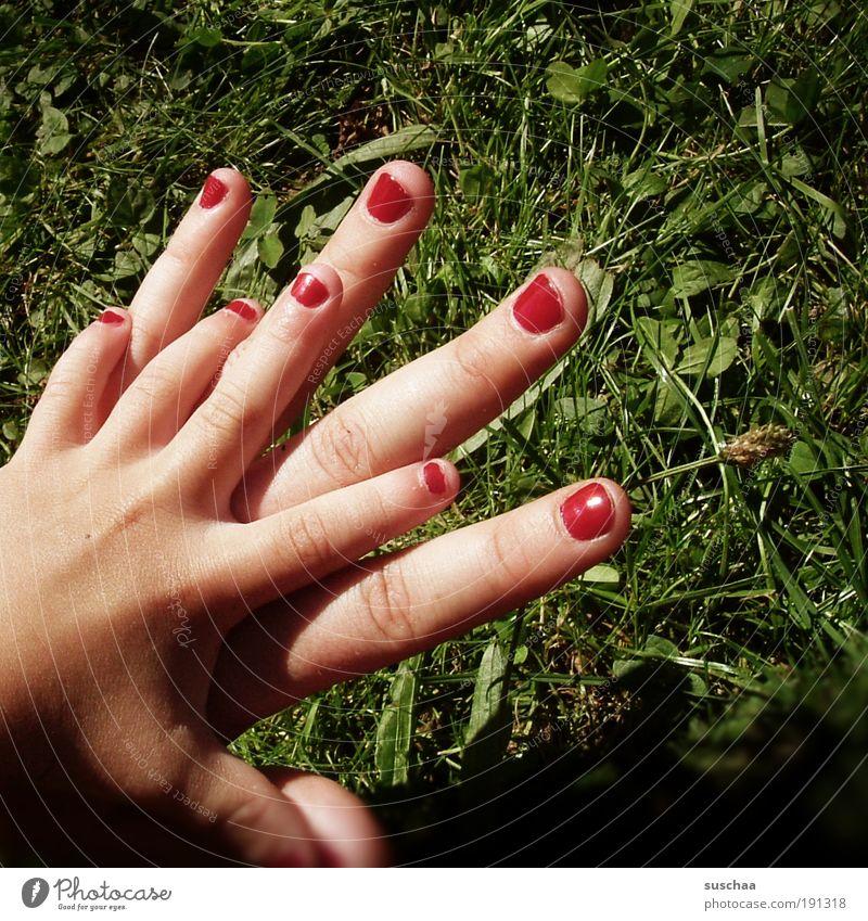 hand in hand .. Natur Hand rot Sommer Freude Wiese Spielen Gras Garten Park Kindheit Fröhlichkeit Finger Mensch Idylle Lebensfreude