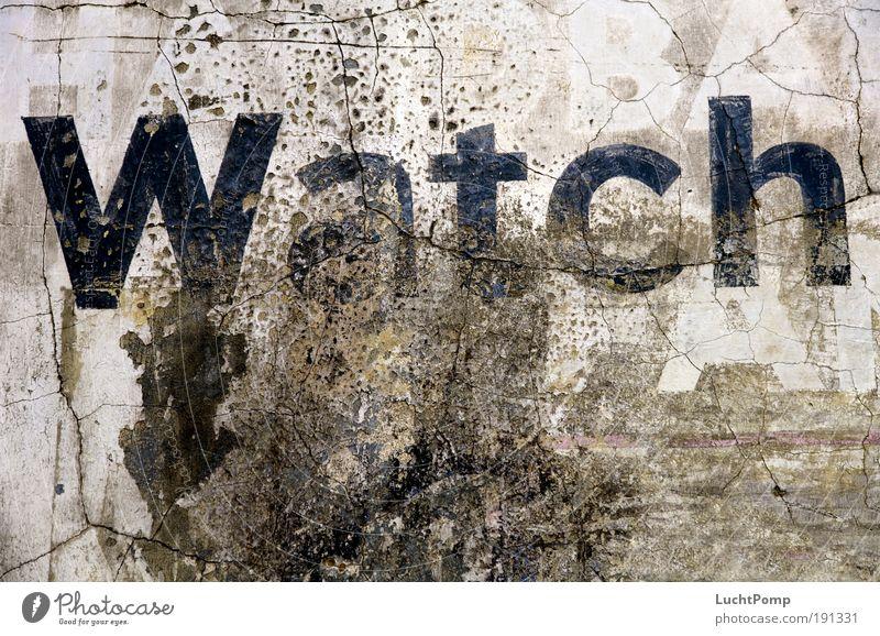 Watch Stil Design Mauer Graffiti Schriftzeichen dreckig Riss alt verwittert Kontrast spachteln gespachtelt Wort Blick Kommunikationsmittel Wand kaputt Beton