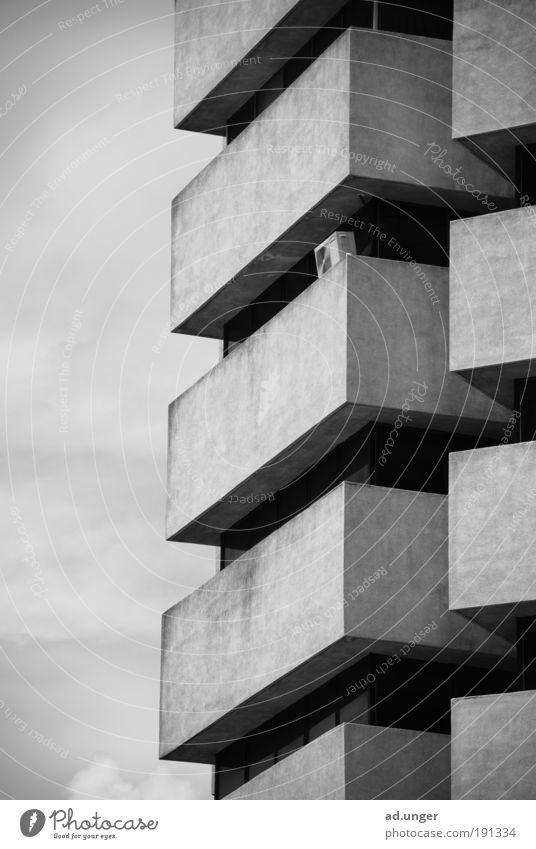 arc 1 Stadt Architektur Balkon ästhetisch modern Ordnung rein Linearität abstrakt Kontinuität Wiederholung Kuala Lumpur Malaysia Skyline Hotel Schwarzweißfoto