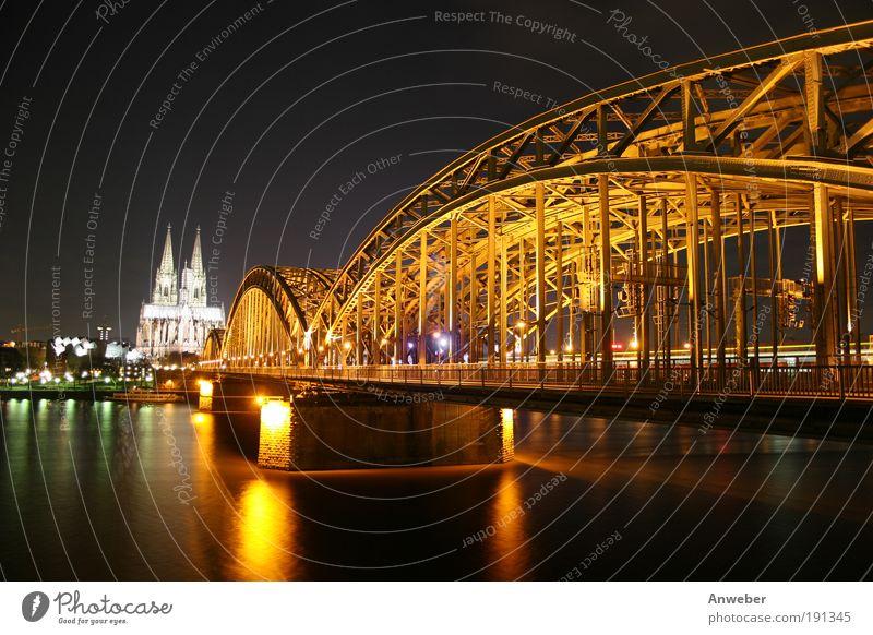 Kölner Dom, Rhein und Hohenzollernbrücke bei Nacht Flussufer köln Deutschland Europa Brücke Bauwerk Architektur kirche Sehenswürdigkeit Wahrzeichen Stimmung