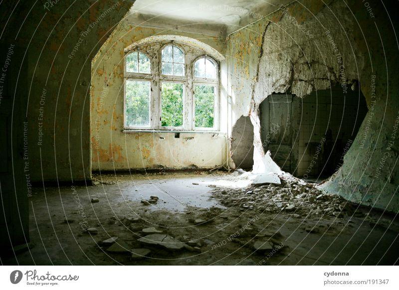 Umbaumaßnahmen ruhig Fenster Wand Mauer träumen Zeit Innenarchitektur Raum Design planen Häusliches Leben Wandel & Veränderung Baustelle einzigartig Vergänglichkeit Haus