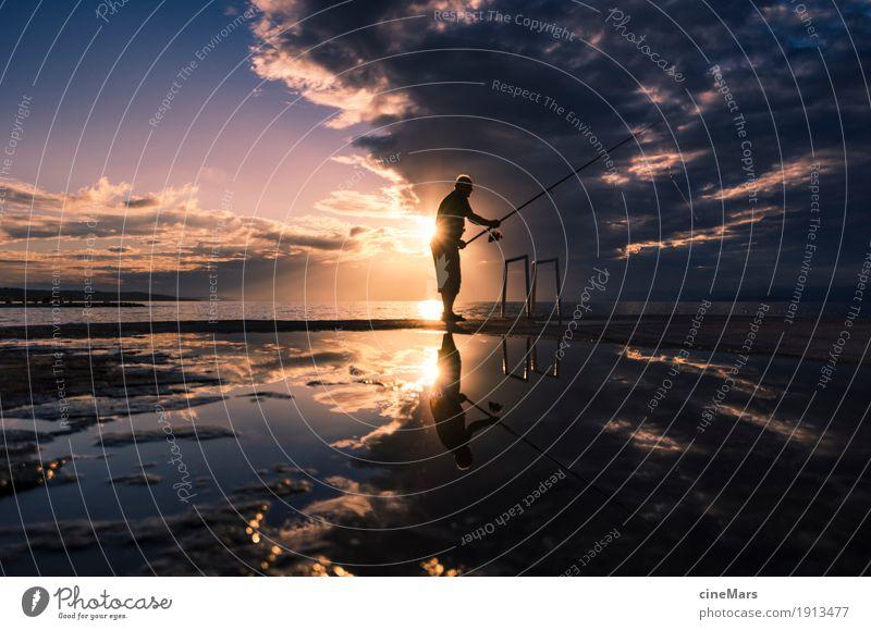 Hoffnung auf den großen Fang Angeln Sport maskulin 1 Mensch Sonnenaufgang Sonnenuntergang Sommer Schönes Wetter Fisch fangen Jagd träumen warten werfen