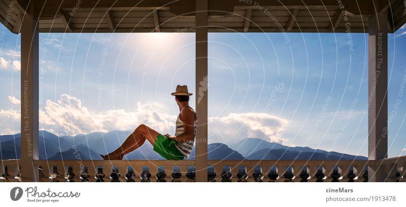 Bester Platz um die Aussicht zu genießen Mensch Himmel Ferien & Urlaub & Reisen Jugendliche Mann Sommer schön Sonne Junger Mann Erholung Ferne 18-30 Jahre