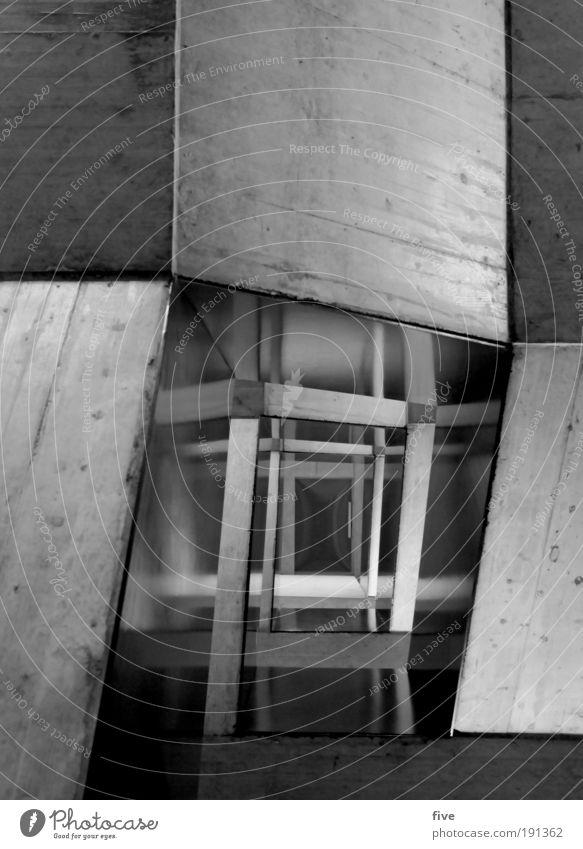 zum 3. stock Haus Bauwerk Gebäude Architektur Mauer Wand Treppe eckig kalt modern oben Beton Betonwand Schwarzweißfoto Innenaufnahme Muster Strukturen & Formen