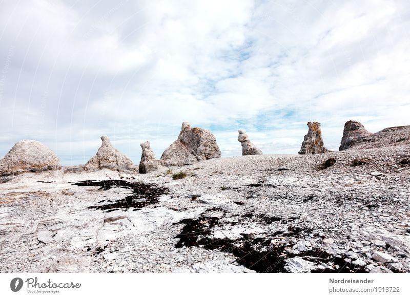 Trollholmsund Himmel Natur Ferien & Urlaub & Reisen Sommer Landschaft Meer Wolken Ferne Küste außergewöhnlich Zeit Stein Tourismus Felsen Schönes Wetter