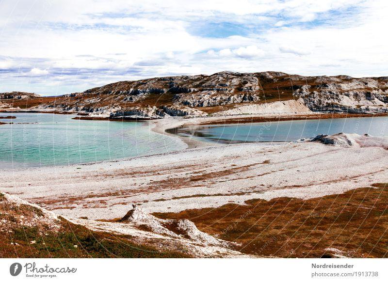 Küste an der Barentssee in Norwegen Natur Ferien & Urlaub & Reisen Sommer Wasser Landschaft Meer Ferne Frühling Gras Freiheit Felsen wandern Europa Abenteuer