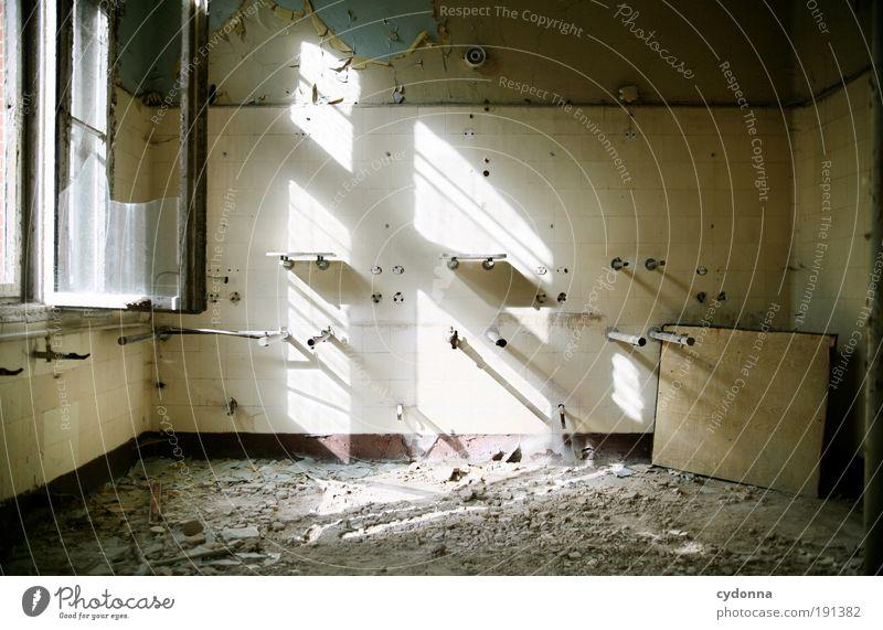 Waschraum Einsamkeit ruhig Leben Fenster Wand Mauer Zeit Innenarchitektur Raum Design ästhetisch Häusliches Leben Wandel & Veränderung Vergänglichkeit Kreativität Idee