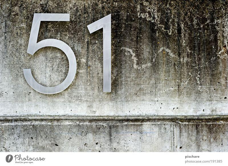 51 Mauer Wand Beton Ziffern & Zahlen Schilder & Markierungen eckig einfach grau Häusliches Leben pischare Hausnummer Farbfoto Außenaufnahme Textfreiraum rechts