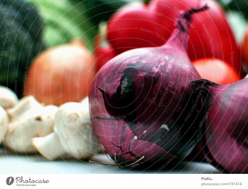 Das beste vom Bauern II Lebensmittel Gemüse Ernährung Bioprodukte Vegetarische Ernährung Diät grün violett rot weiß Gesundheit Zwiebel Paprika Champignons