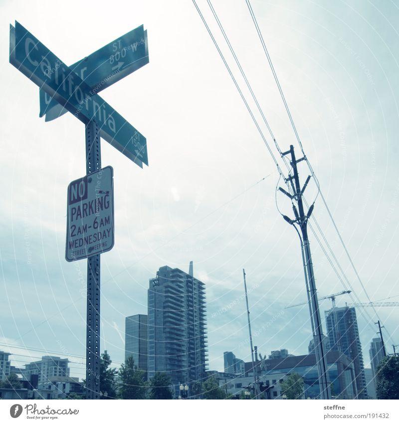 CA ALL DAAAY San Diego Kalifornien USA Stadt Stadtzentrum Haus Verkehrszeichen Verkehrsschild heiß parking Hochspannungsleitung Farbfoto Außenaufnahme
