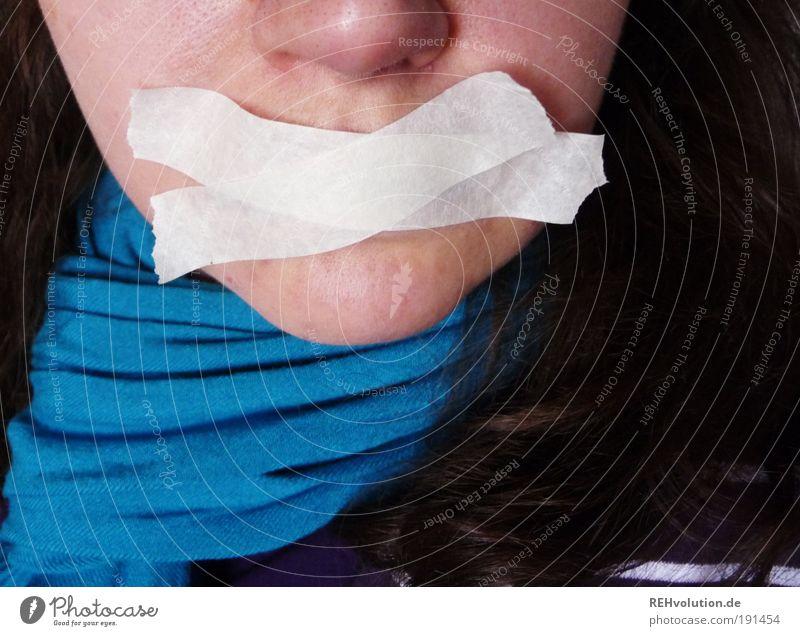 Ich kommuniziere! Mensch Jugendliche Gesicht ruhig sprechen feminin Haare & Frisuren Erwachsene Nase Sicherheit Pause authentisch Telekommunikation Gewalt brünett Wort