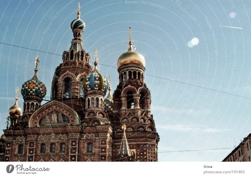 Build on blood blau alt Reisefotografie Architektur Religion & Glaube braun gold Tourismus Gold Kirche Kultur Glaube Wahrzeichen Sehenswürdigkeit analog Sightseeing