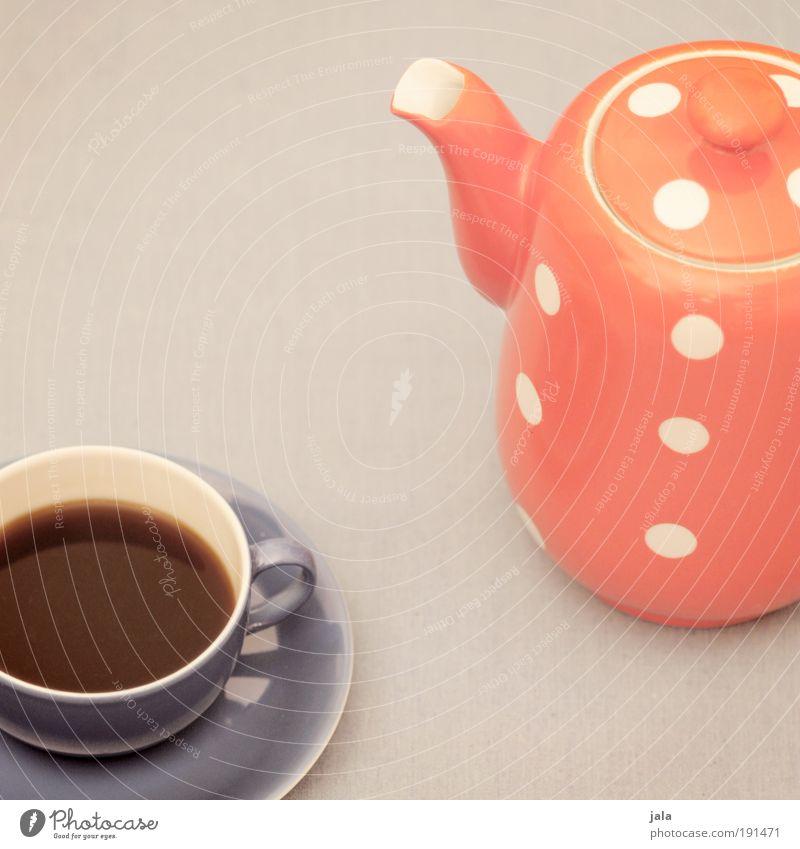 Zeit für nen Kaffee Getränk Heißgetränk Geschirr Tasse Kaffeekanne Pause rot blau grau Punkt Kannen Farbfoto Gedeckte Farben Innenaufnahme Hintergrund neutral