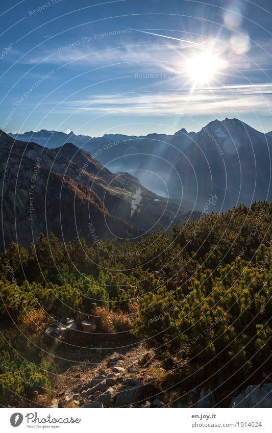 Höhensonne Himmel Natur Ferien & Urlaub & Reisen Sonne Landschaft Erholung ruhig Ferne Berge u. Gebirge Religion & Glaube Freiheit Tourismus Horizont leuchten Ausflug Idylle