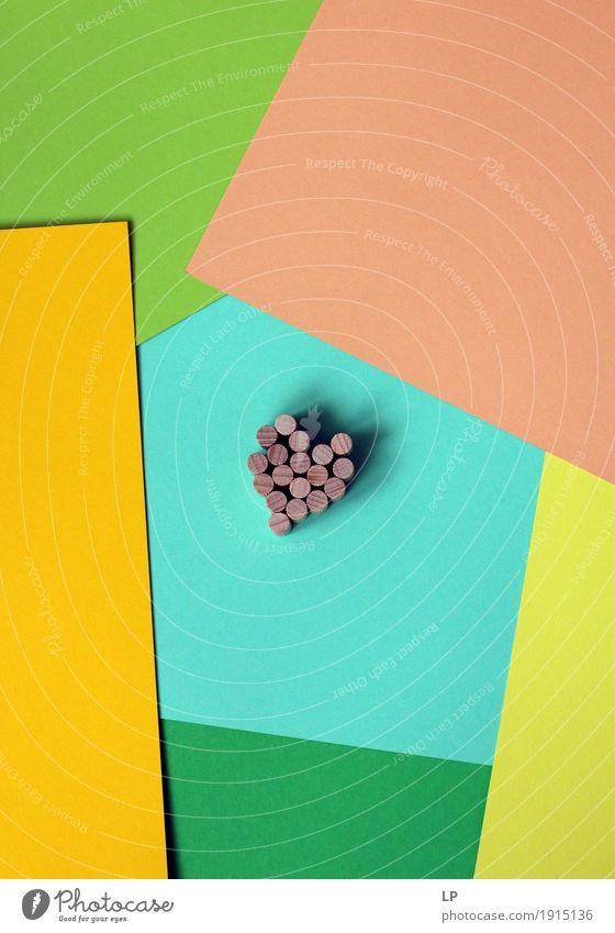 Holz Herz auf abstrakten Hintergrund Lifestyle Stil Freude Valentinstag Kunst Zeichen Linie gelb grün türkis Gefühle Tatkraft Leidenschaft einzigartig entdecken