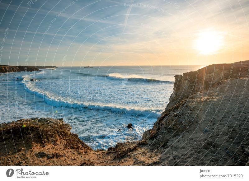 Klarer Kopf Ferien & Urlaub & Reisen Sonne Meer Wellen Natur Landschaft Himmel Sonnenaufgang Sonnenuntergang Sonnenlicht Sommer Schönes Wetter Felsen Küste