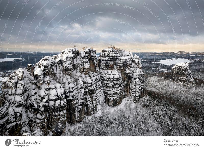Schrammsteine II Natur schön weiß Landschaft Winter Wald Berge u. Gebirge schwarz Umwelt kalt gelb Schnee außergewöhnlich braun Stimmung Felsen