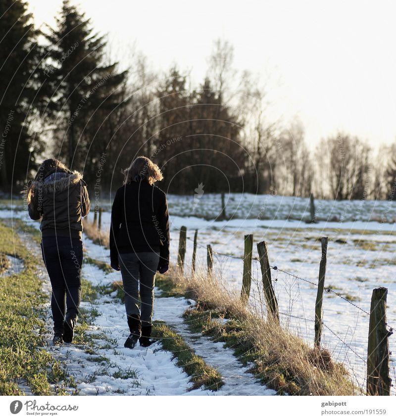 Winterspaziergang Mensch Natur Jugendliche Winter Leben Bewegung Familie & Verwandtschaft Freundschaft Zusammensein gehen wandern Spaziergang Zaun Großmutter Stacheldrahtzaun Gefühle