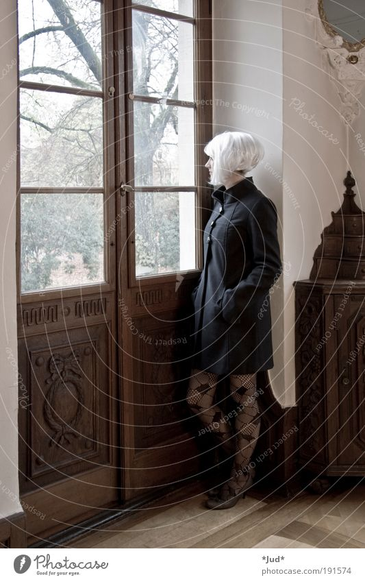 Stille Frau Mensch Jugendliche schön Einsamkeit Erwachsene feminin Holz Stimmung Mode elegant ästhetisch Hoffnung 18-30 Jahre Sehnsucht Junge Frau