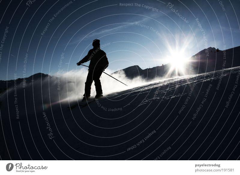 Downtempo Mensch Natur Sonne blau Freude Winter Ferien & Urlaub & Reisen schwarz Sport Leben Schnee Berge u. Gebirge Freiheit Skifahren Tourismus