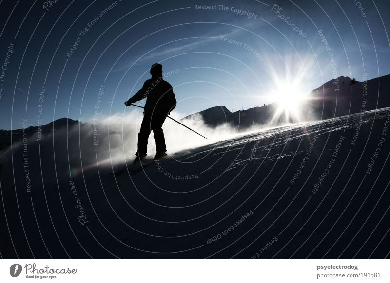 Downtempo Mensch Natur Sonne blau Freude Winter Ferien & Urlaub & Reisen schwarz Sport Leben Schnee Berge u. Gebirge Freiheit Skifahren Tourismus Freizeit & Hobby