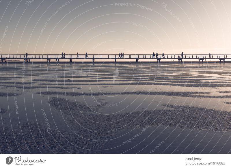 Six feet up Mensch Landschaft Küste Nordsee Wattenmeer St. Peter-Ording Steg Sand Wasser Erholung gehen Unendlichkeit Einsamkeit Gelassenheit einzigartig Ferne
