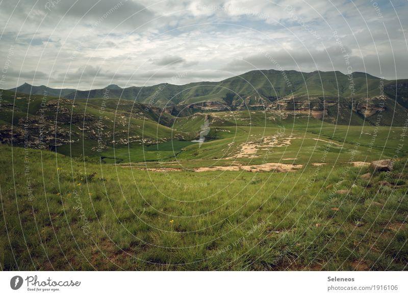 Wanderausflug Ferien & Urlaub & Reisen Ausflug Abenteuer Ferne Freiheit Umwelt Natur Landschaft Himmel Wolken Horizont Gras Berge u. Gebirge Gipfel Alm wandern