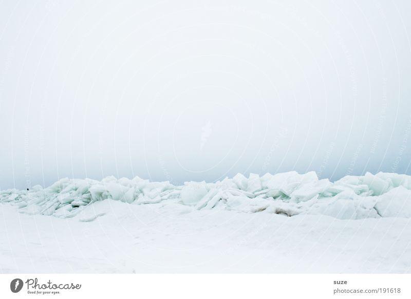 Wassereis Umwelt Natur Landschaft Urelemente Erde Luft Himmel Wolkenloser Himmel Horizont Winter Klima Nebel Eis Frost Schnee Küste Ostsee außergewöhnlich eckig