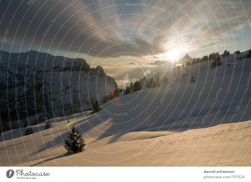 Winterkaltefüsseweitwinkelpanorama Umwelt Natur Landschaft Himmel Wolken Schönes Wetter Wind Eis Frost Alpen Berge u. Gebirge Schneebedeckte Gipfel weiß