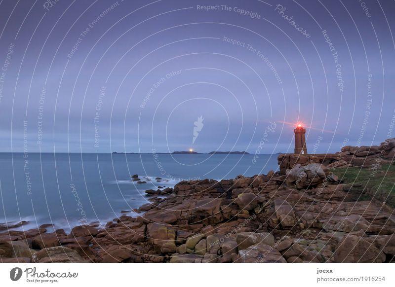 Phare de Ploumanac'h Ferien & Urlaub & Reisen Tourismus Landschaft Himmel Horizont Felsen Wellen Küste Meer Leuchtturm Sehenswürdigkeit historisch maritim