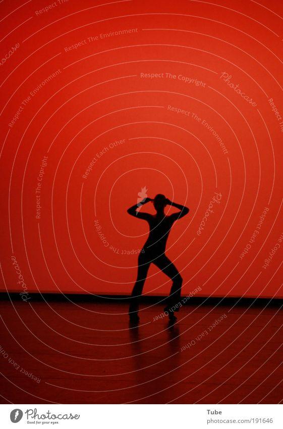 Shadowplay Nachtleben Tanzen Fitness Sport-Training Tanzschule feminin Junge Frau Jugendliche Körper Bühne Tänzer Musik Musik hören Fröhlichkeit dünn rot Freude
