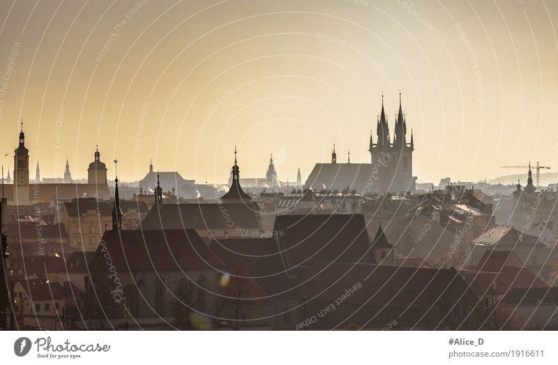 die dunklen Türme von Prag Ferien & Urlaub & Reisen Stadt Haus Winter Architektur gelb Gebäude Tourismus Horizont Kirche Europa Gold Turm Bauwerk