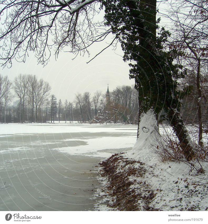 Valentinstag am Monrepos Umwelt Natur Landschaft Wasser Himmel Winter Eis Frost Schnee Baum Sträucher Park Seeufer Ludwigsburg Deutschland Kirche Zeichen Herz