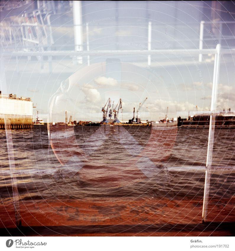 Sicherungsgerätschaft Wasser Stadt Sommer Wolken Bewegung nass Hamburg Industrie Fluss Lomografie Hafen Segeln Mobilität Schifffahrt