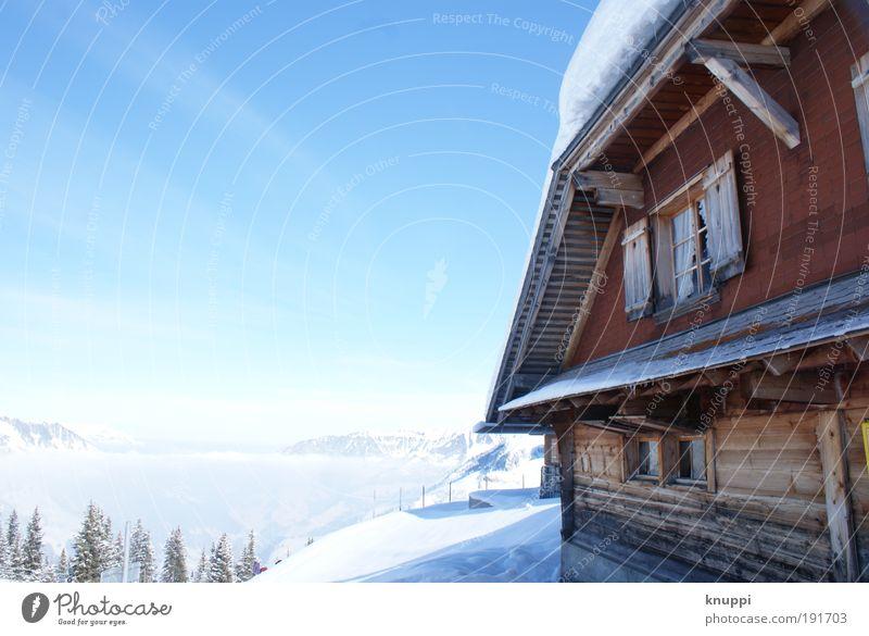 Nebelmeer und Alpenhütte Himmel Natur Ferien & Urlaub & Reisen blau weiß Sonne Erholung rot Landschaft ruhig Haus Freude Winter Berge u. Gebirge Umwelt Schnee